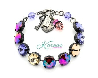 GLAMOFLAUGE GRAPE 12mm Crystal Rivoli Bracelet Made With Swarovski Elements *Pick Your Finish *Karnas Design Studio *Free Shipping*
