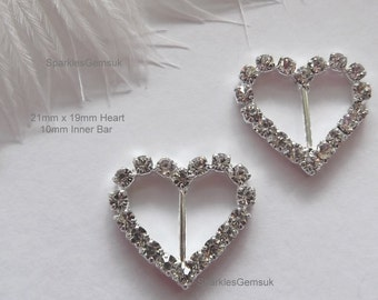 Diamante Rhinestone Ribbon Buckles Sliders - Heart 10mm Inner bar x 10 Buckles