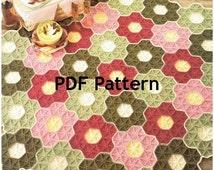 Vintage Granny Square Hexagon Flower Garden Afghan Crochet Pattern