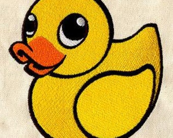 """Embroidered Patch - Yellow Duckie / Rubber Ducky - sew or glue on 5x4"""""""