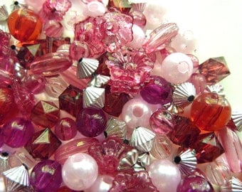 Pink and Silver plastic bead mix