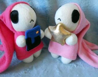Chobits inspired Anata and Atashi Watashi light and hot pink bunny set of two (18 cm high)