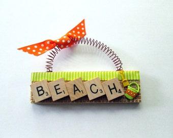 Beach with Sand Pail Scrabble Tile Ornament