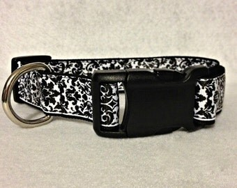 Black and White Damask Dog Collar