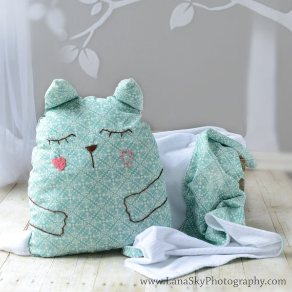 items similar to baby toddler blanket and pillow set stuffed animal pillow toy blue cat. Black Bedroom Furniture Sets. Home Design Ideas