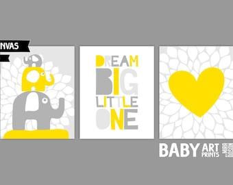Yellow and Grey Nursery canvas art, Set of 3 8x10. Heart, Elephants, Dream Big Little One ( S810027 )