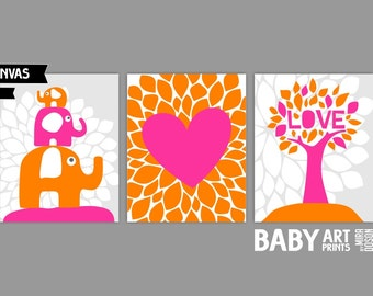 Pink and Orange Nursery canvas art, Set of 3 8x10. Heart, Tree, Elephants ( S810024 )