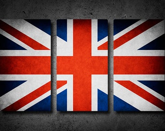 Union Jack/UK Flag Triptych (w/ Free Shipping!)