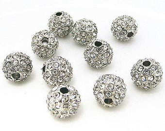 5% OFF Sale 10Pcs Silver Tone Crystal stones Pave Disco Ball Rhinestone Bead Loose Spacer Beads Findings 8MM
