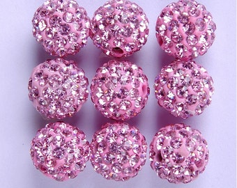 10Pcs 10mm Polymer Clay with Rhinestone Loose Bead Pave Disco Crystal Ball Beads Spacer Findings - Pink
