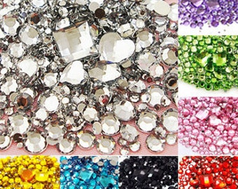9 Colors Mixed Size/Shape Flat Back Rhinestone 1100PCS 3D Acrylic Flatback Rhinestones DIY Phone case Nail art design deco supplies