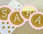 Pink and Gold Banner - Personalized Birthday Banner - Silver or Gold Foil Banner Garland - Pink and Gold Birthday Party - (EB3034FW)