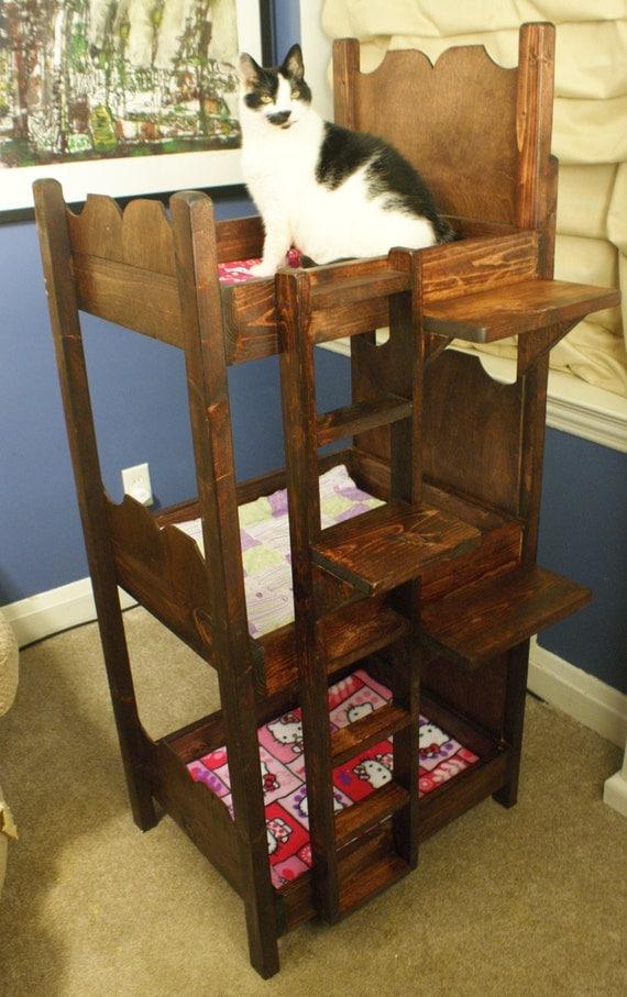 sale custom made wooden triple bunk bed for cats. Black Bedroom Furniture Sets. Home Design Ideas