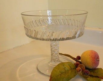 Antique Victorian Clear Glass Compote
