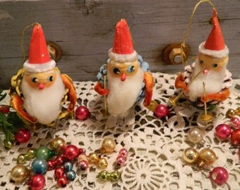 Set of 3 Vintage Pine Cone Elf Christmas Ornaments