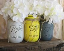 ON SALE NOW!! Set Of 3 Pint Mason Jars, Painted Mason Jars, Yellow and Gray Mason Jars, Country Home Decor, Yellow & Gray Mason Jars