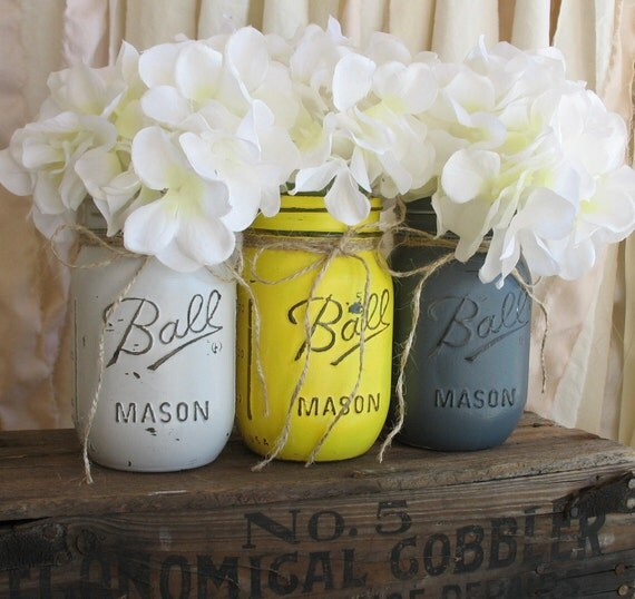 Distressed Mason Jars, Painted Mason Jars, Mason Jar Vases, Teal And Gray, Country Decor, Teal photo - 8