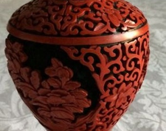 Mid Century Antique Chinese Lacquer Cinnabar Vase