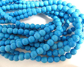 Turquoise Bead Strand, Synthetic, Deep Sky Blue, Dyed, Round, 6mm, 67 Piece Strand, Sale, Jewelry Supply