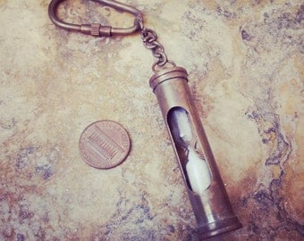 Vintage Style Antique Brass Sand Timer Hour Glass Hourglass Keychain / Necklace Pendant