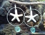 Starfish earings w/ light aqua nugget sea glass, hand made