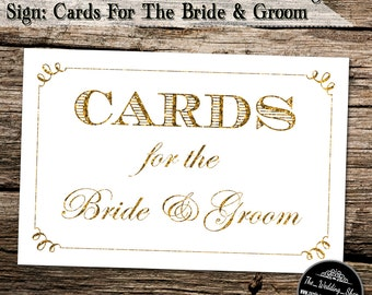 "Instant Download- 3"" x 5"" Printable JPEG Modern Style DIY White and Gold Glitter Effect Wedding Sign: Cards For The Bride & Groom"