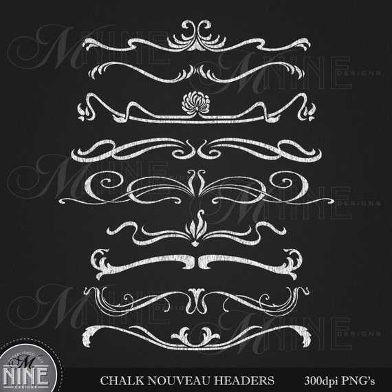 Design Elements Header Download Art Nouveau Chalkboard Accents Clip