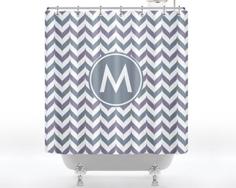 Chambray & Platinum Fancy Chevron Monogram Shower Curtain YOU CHOOSE COLOR - Custom Monogram With Initial And Personalized for Your Bathroom