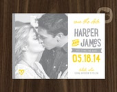 Playful Handwritten Grey and Yellow Wedding Save the Date Digital File or Printed Cards