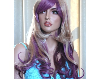 Long curly wig . Plum blonde synthetic multicolor wig -high quality wig