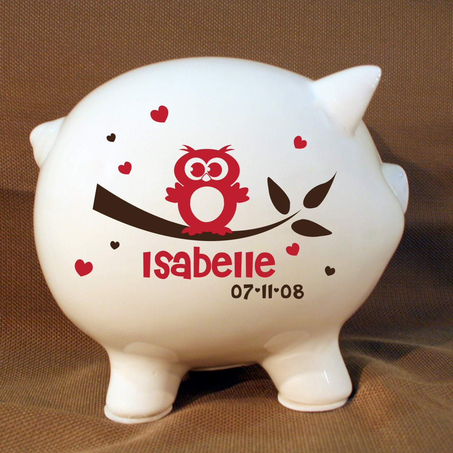 8 Personalized Owl Piggy Bank With Vinyl Decal Extra
