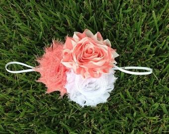 White and coral rosette headband -  newborn headband - toddler headband