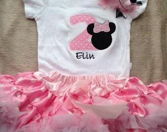 Pink and black minnie mouse birthday outfit - 1st 2nd birthday shirt petti skirt and headband - custom birthday shirt