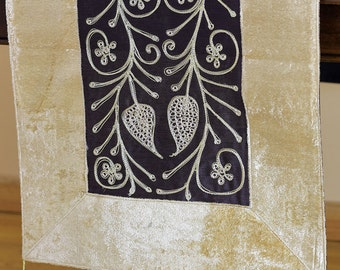 "Velvet Floral Embroidered Table Runner (Creamy Brown, 70"" X 16"")"