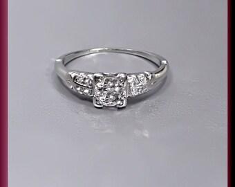 Antique Vintage Retro 1940's Platinum Old European Cut Diamond Engagement Ring Wedding Ring - ER 266M
