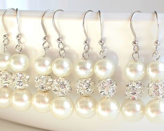 Wedding earrings Bridesmaid earrings set of 4 pearl earrings wedding gift bridal jewelry wedding jewelry pearl earrings rhinestone