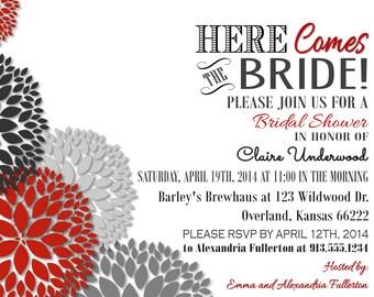 Bridal Shower Invite, Red, Black, Gray Dahlias Flowers Here Comes Bride