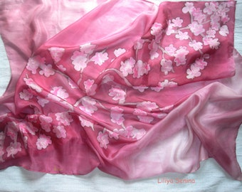 batik shawl Sakura silk handpainted 90/90 cm, 36/36''