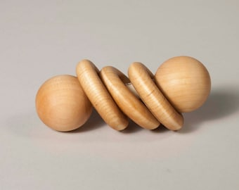 Wooden baby rattle, wooden teether, natural teether