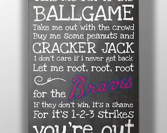 Atlanta Braves- Take Me Out to the Ballgame Chalkboard Print