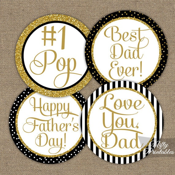 Father's Day Cupcake Toppers - Black & Gold Glitter Fathers Day Printable - DIY Gold Dad Pop Favor Tags or Stickers - BGL