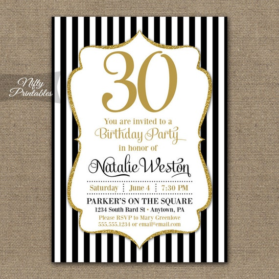 30th birthday invitations black & gold glitter 20th 30th, Birthday invitations