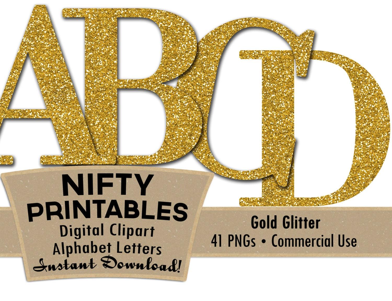 Gold Glitter Alphabet Letters Set Elegant by NiftyPrintables