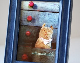 "Framed notecard of ""adrawerable"" vintage toy cat"