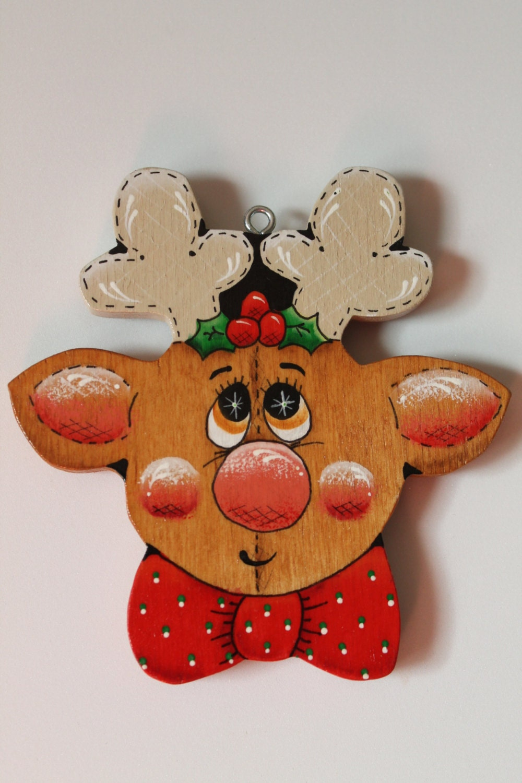 tole painted wood reindeer face ornament. Black Bedroom Furniture Sets. Home Design Ideas