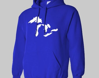 The GREAT LAKES Hoodie all sizes many colors sweatshirt jumper hooded MICHIGAN Minnesota