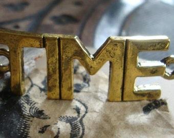 Bracelet Word Charm, Steampunk Time charm