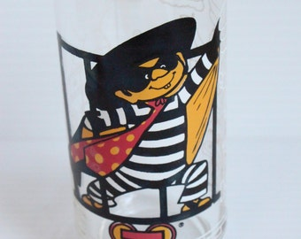 Hamburglar Glass, McDonald's Action Series Train glass, 1977 vintage glass, McDonald's vintage promotional glass, vintage housewares