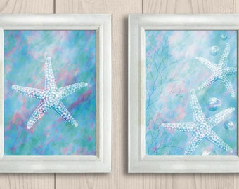 INSTANT DOWNLOAD Blue Colorful Starfish Set of 2 Printable Bathroom Print Art Print Wall Decor Modern Ocean Nautical Beach