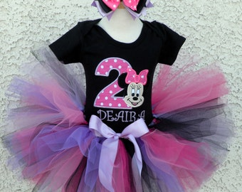 Minnie Mouse Pink Dot Birthday Number Tutu -Personalized Birthday Tutu,Sizes 6m - 14/16